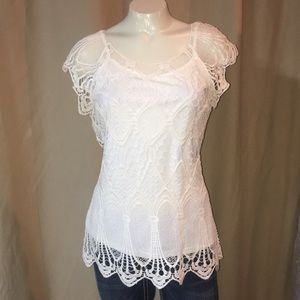 Madison Lace blouse layered attached camisole